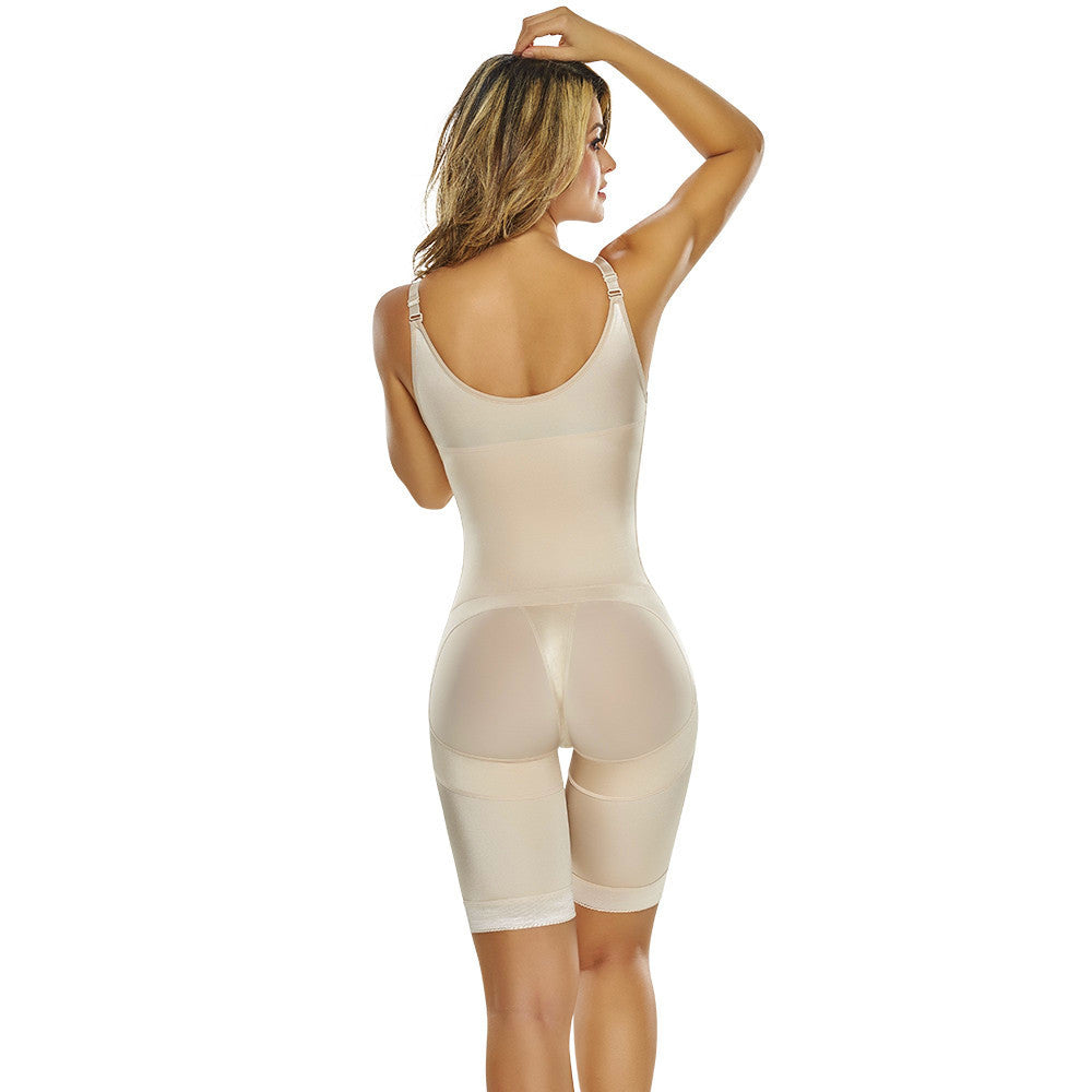 39ad357956 ... Open Bust Mid-Thigh Body Shaper with Hook   Eye Closure by TrueShapers®  ...