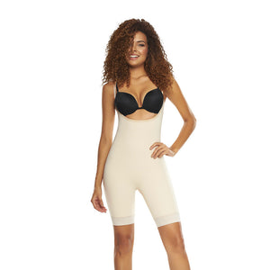 Open Bust Mid-Thigh Control Body Shaper with Removable Pads by TrueShapers®