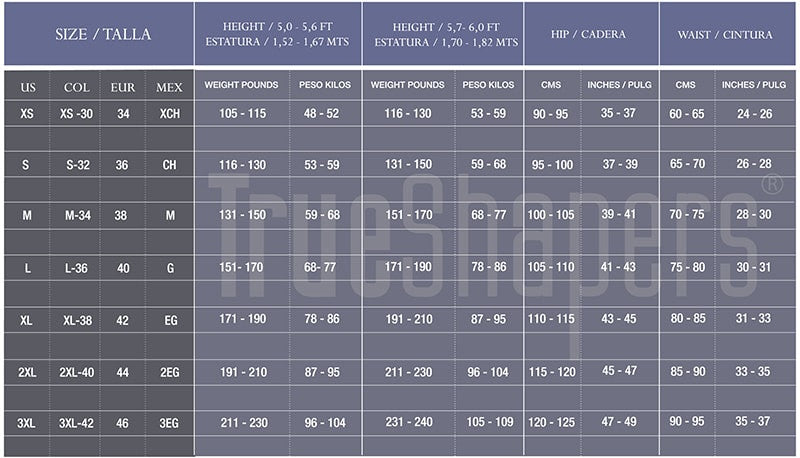 Colorful Animal and Print Classic High Waist Trainer Sizing Chart by TrueShapers - Shapersfit.com
