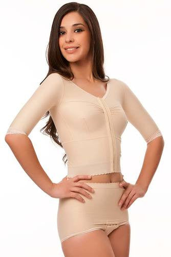 Breast Augmentation & Reduction Short Sleeve Support Bra/Vest Waist Length | VS03-SS