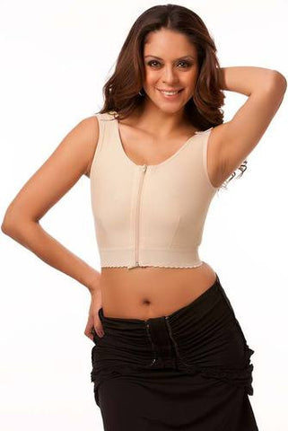 Breast Augmentation Sleeveless Support Bra/Vest with Front Zipper | VS04