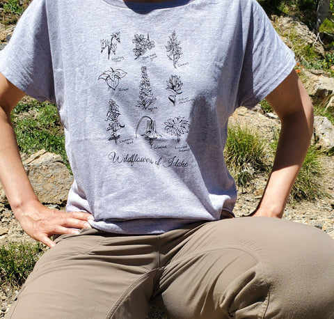 Wildflowers of Idaho Women's Dolman T-shirt, screen printed with eco-friendly waterbased inks, adult sizes
