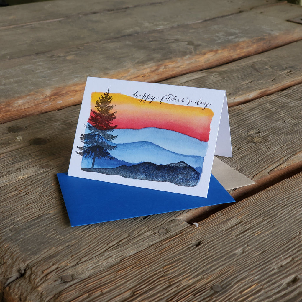 Happy Father's day tree and mountains, letterpress printed card.  Eco friendly, happy fathers day