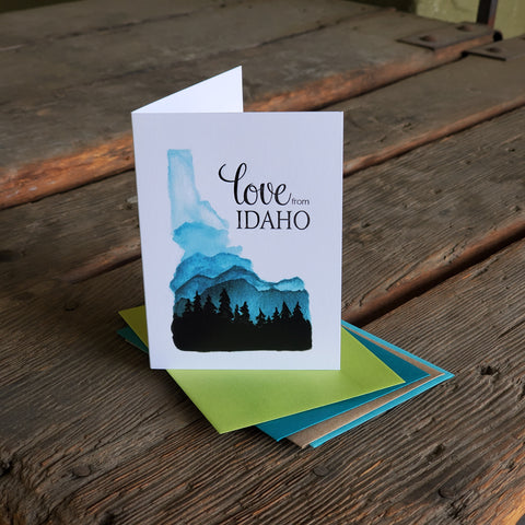 Love from Idaho, letterpress printed eco friendly