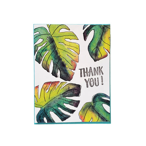 Monstera leaf thank you card, letterpress printed card. Eco friendly