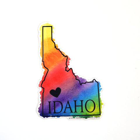 Rainbow Idaho heart sticker