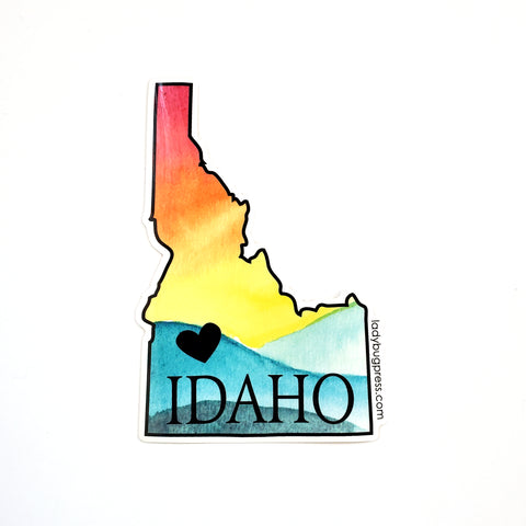 Warm Idaho heart sticker