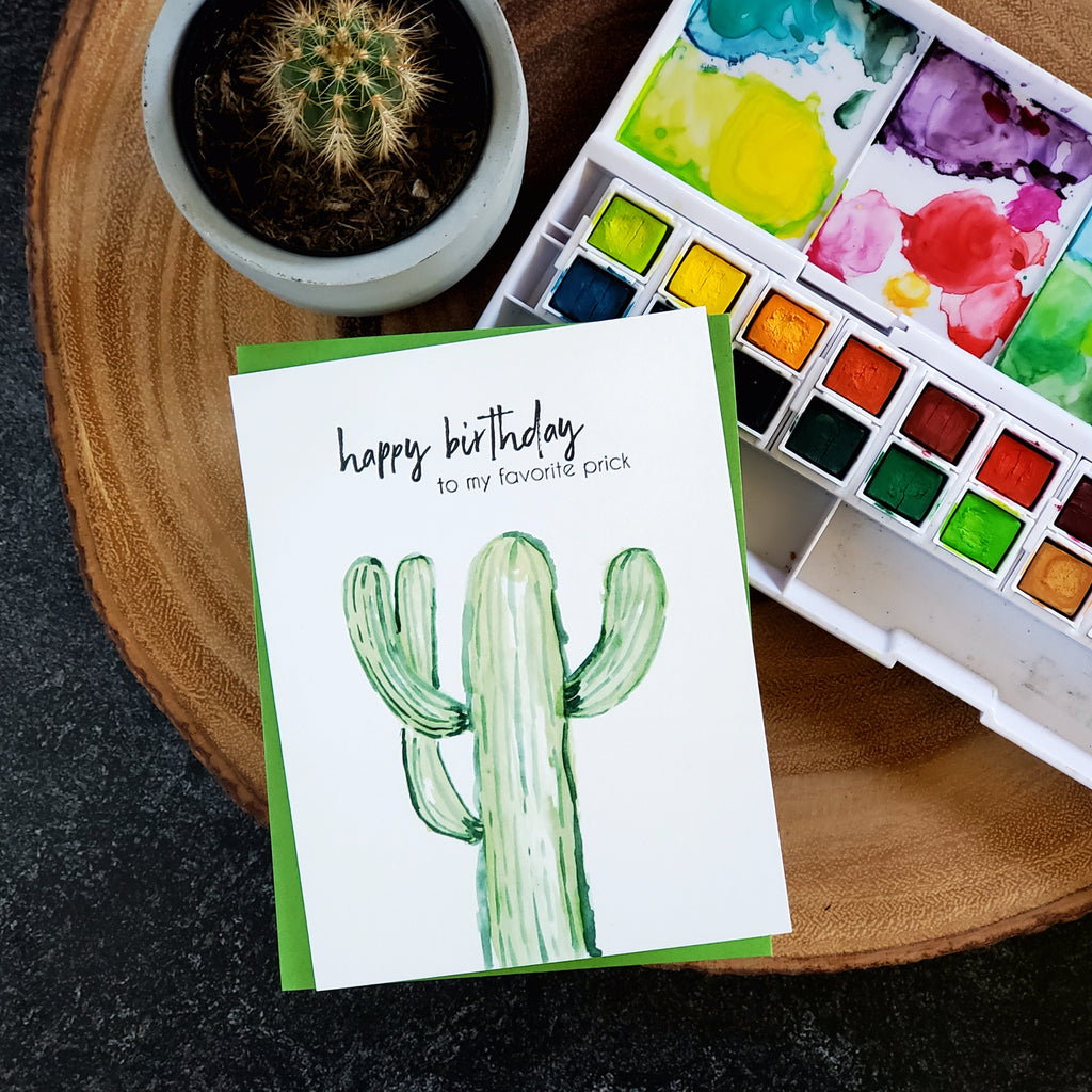 Happy birthday to my favorite prick, cactus card, letterpress printed eco friendly
