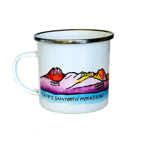 Sawtooth Mountains Enamel Mug, watercolor
