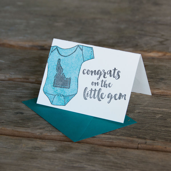 Congrats on the little gem, Idaho baby letterpress printed, eco-friendly