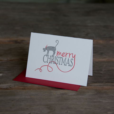 Merry Christmas Kitty, letterpress printed, cat and ribbon, eco friendly