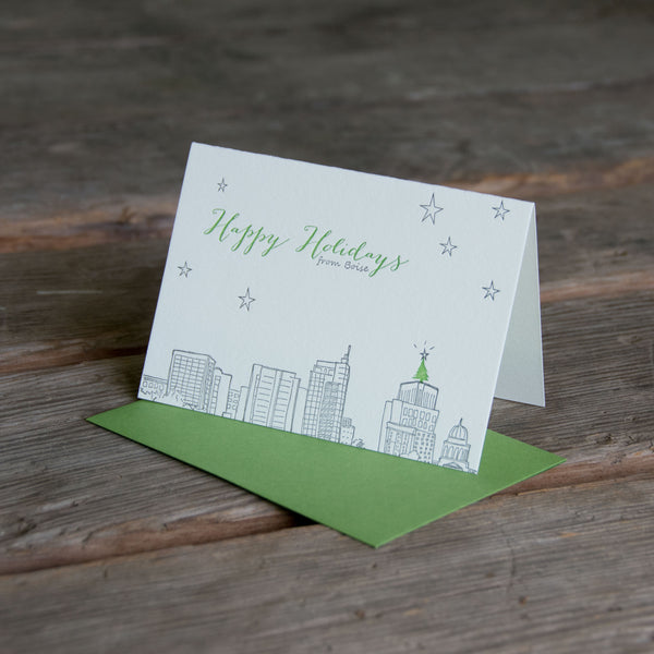 Boise Holiday card, Boise Idaho skyline with holiday tree