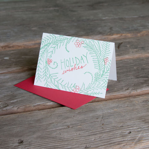Modern Woodland Wreath holiday card, letterpress printed, eco friendly