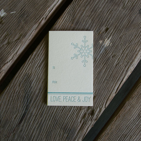 Snowflake tag 6pk letterpress gift tags, eco-friendly perfect for Christmas