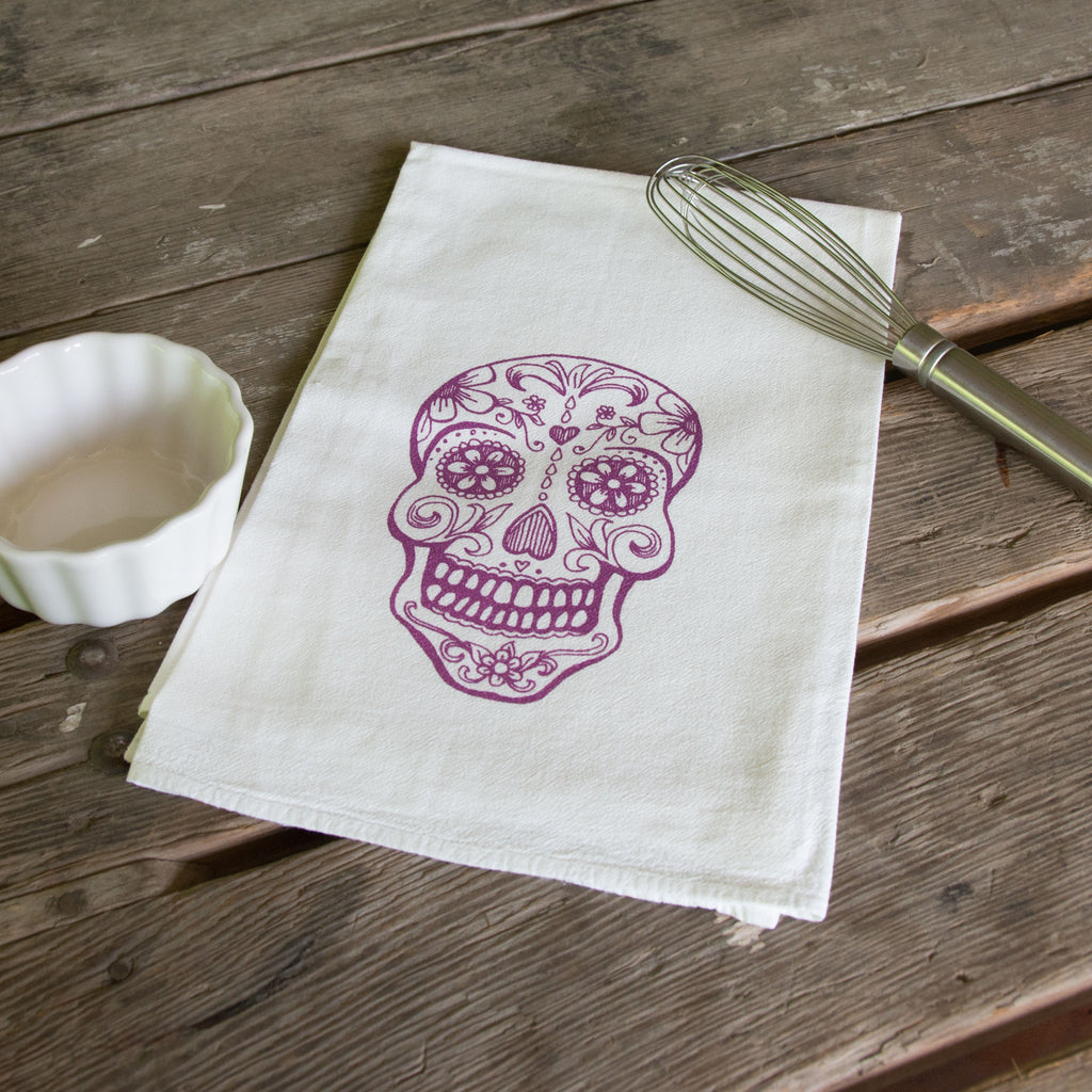 Sugar Skull Screen Printed Tea Towel, flour sack towel
