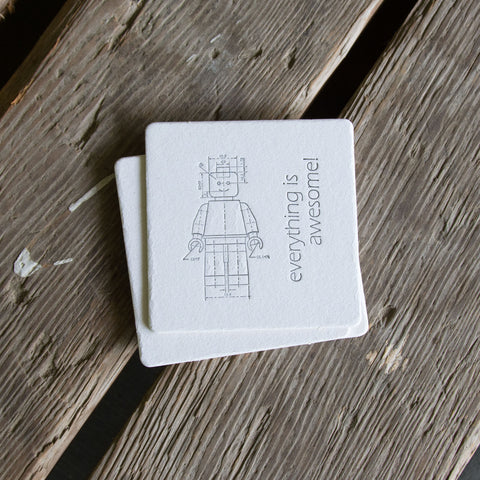 Minifigure Coasters, charcoal ink (Letterpress printed, 3.5 inches) set of 4
