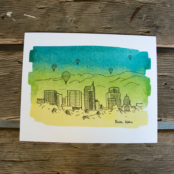 8x10 Boise Skyline Letterpress + Water Color Wash art print,  eco friendly