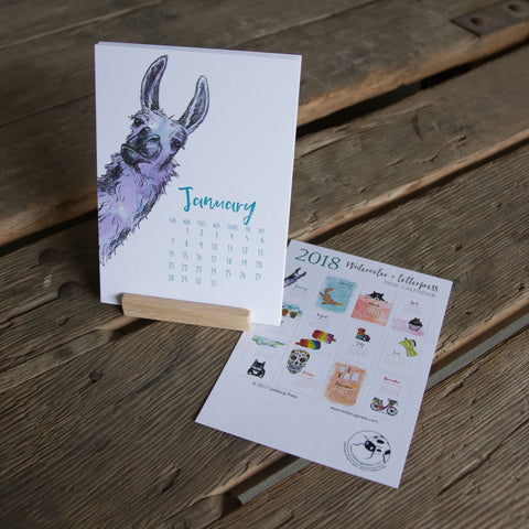 2018 Watercolor and Letterpress Collection Desk Calendar, hand drawn, letterpress printed eco friendly
