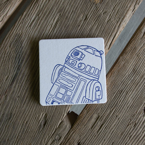Droid coasters, R2D2 (Letterpress printed, 3.5 inches) set of 4