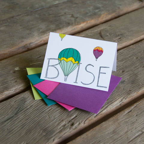 Boise Hot Air Balloon card, letterpress printed eco friendly