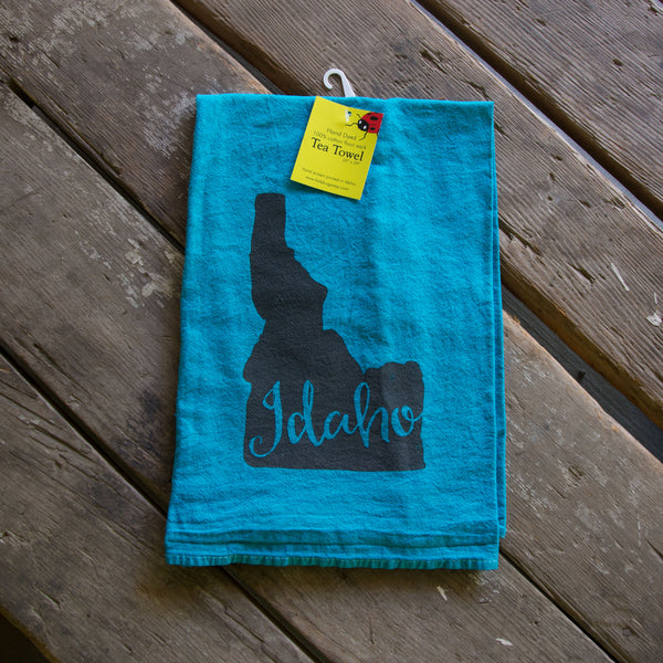 Hand-dyed Idaho Screen Printed Tea Towel, flour sack towel