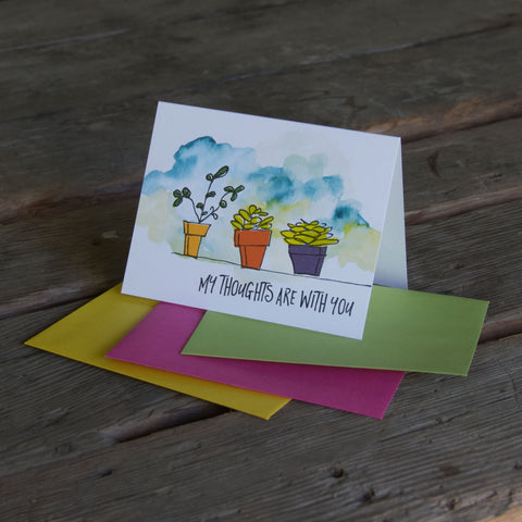 My thoughts are with you succulent card, watercolor + letterpress eco friendly