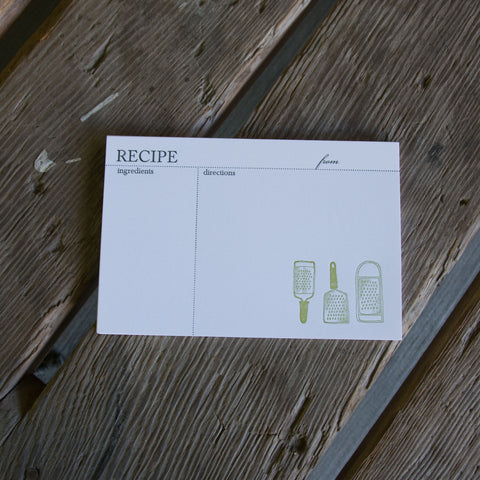 Grater RECIPE CARDS, modern design (Letterpress printed, 4x6 inches)