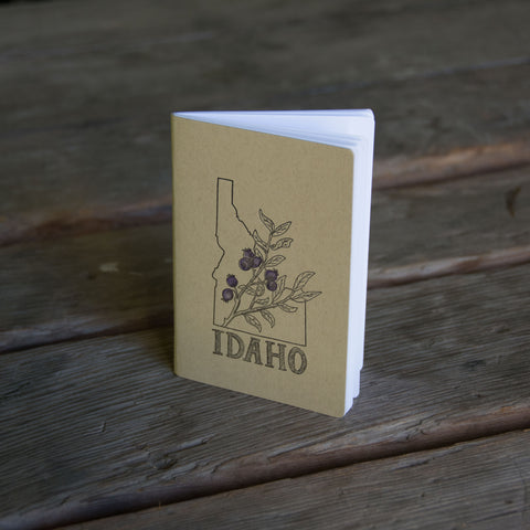 Idaho Huckleberry Notebook, hand drawn and staple bound, letterpress printed eco friendly
