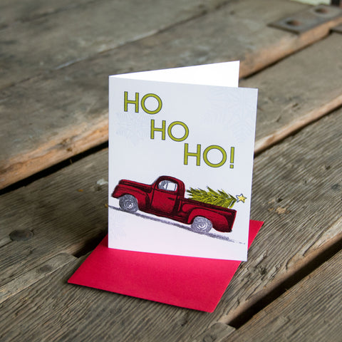 Ho Ho Ho! Holiday Truck, letterpress printed, eco friendly