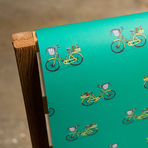 Holiday Bike Wrapping paper, 20x29 inches