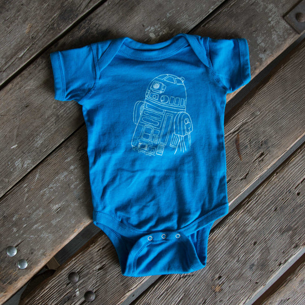 Droid onesie, R2D2 eco-friendly waterbased inks