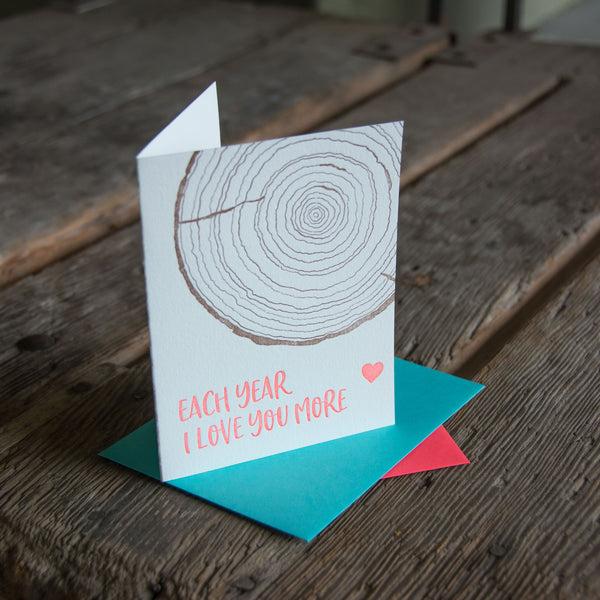 Each year I love you more, woodslice illustration letterpress eco friendly
