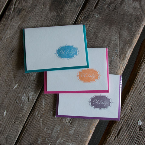 Oh Baby letterpress cards, letterpress printed card. New baby. Eco friendly