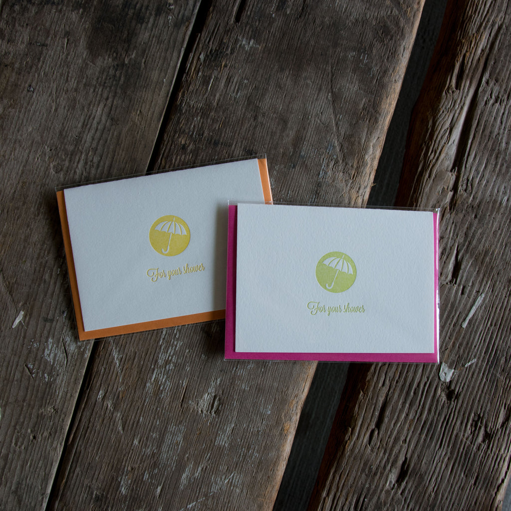 For Your Shower cards, letterpress printed card. Baby and Bridal Shower. Eco friendly