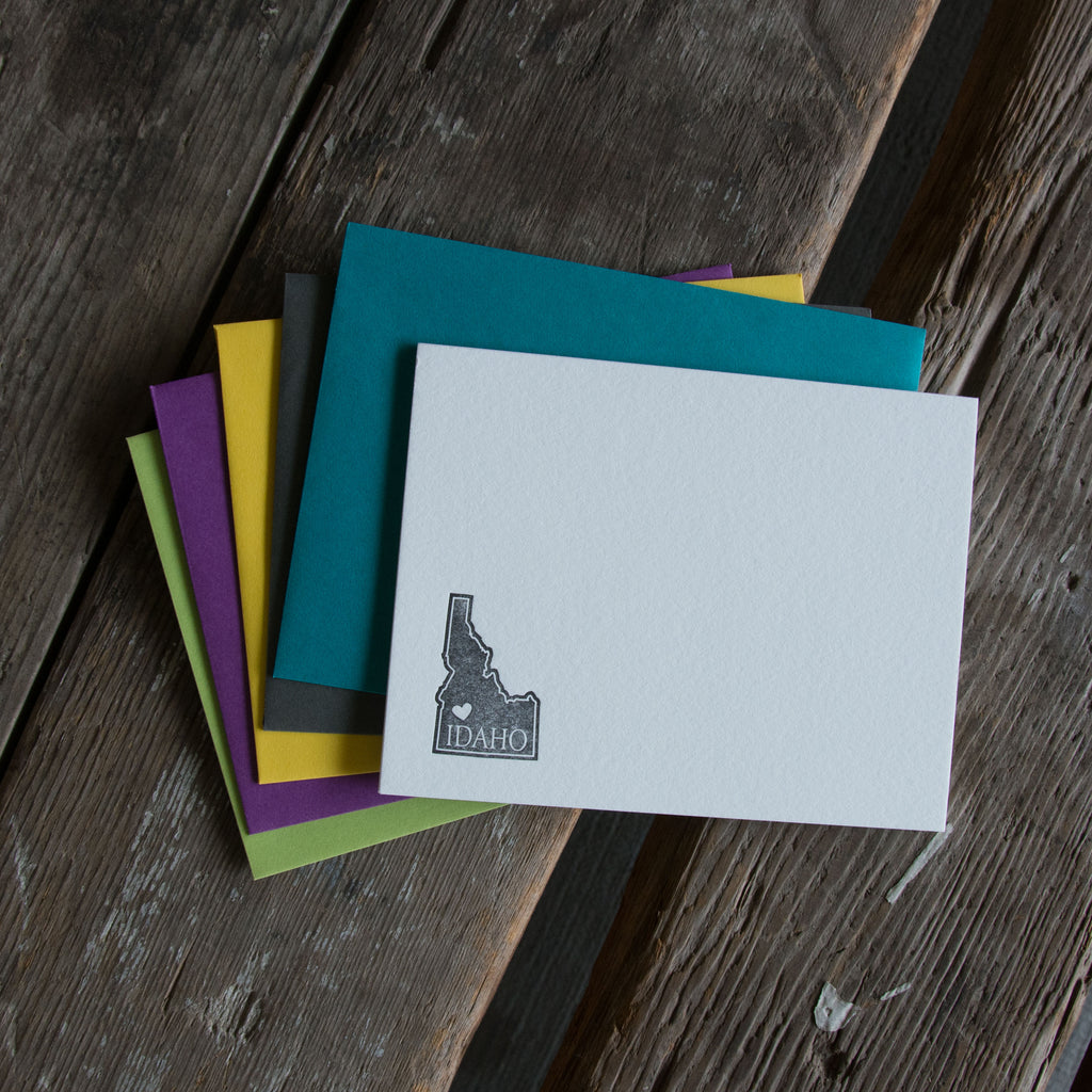 Idaho Heart Note A-2 Note Cards 5 pack, letterpress printed eco friendly