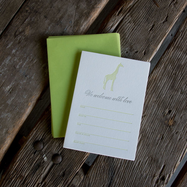 Letterpress Giraffe Fill in Baby Announcements, Set of 10. Eco friendly.