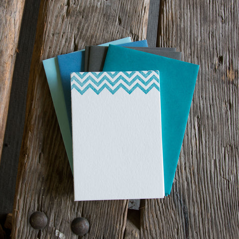 Classic Chevron Stationery Set, 10 pack, letterpress printed eco friendly