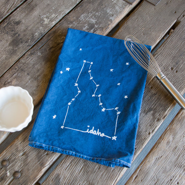 Hand-dyed Idaho Constellation Screen Printed Tea Towel