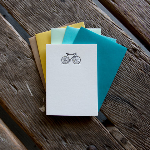 Road Bike Stationery Set, 10 pack, letterpress printed eco friendly.