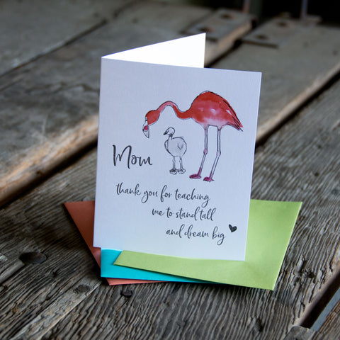 Standing tall flamingo, Mother's Day, letterpress printed card. Eco friendly
