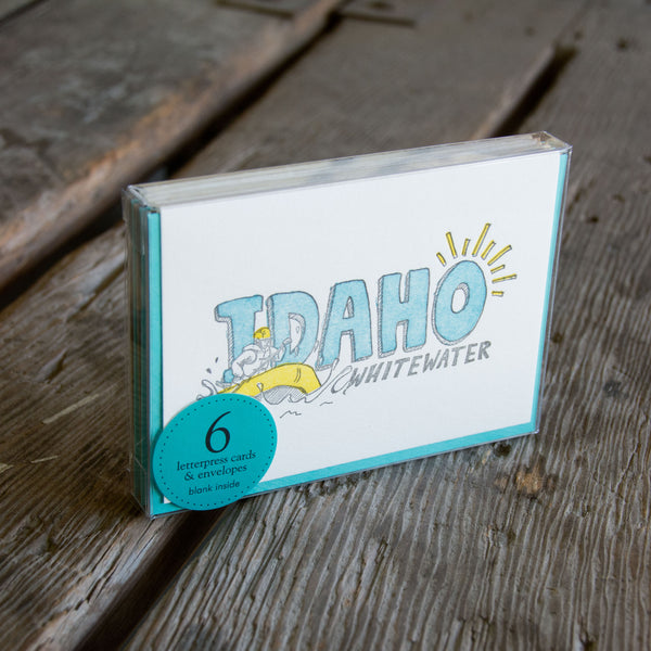 Idaho whitewater, letterpress printed, eco-friendly