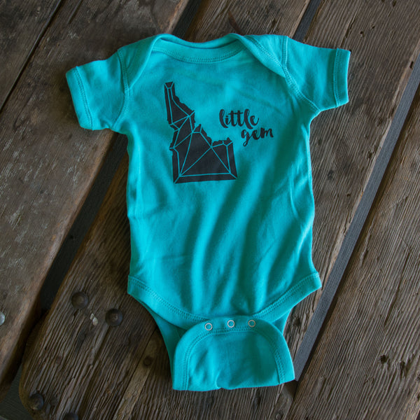 Idaho Gem Onesie, eco-friendly waterbased inks