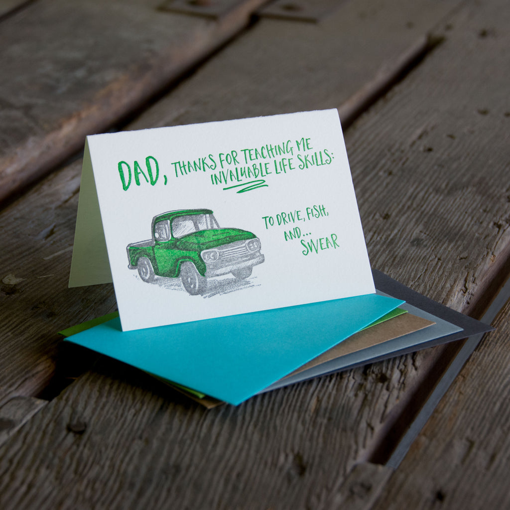 Father's day truck, letterpress printed card.  Eco friendly, happy fathers day