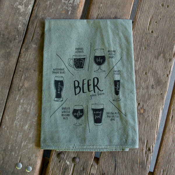 Hand dyed Beer glassware Screen Printed Tea Towel, flour sack towel