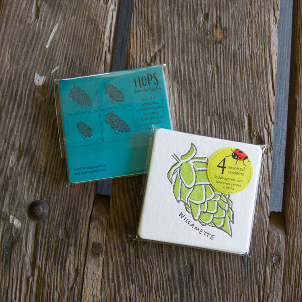 Hops Coasters, set of 4 perfect gift for beer lover and brewer
