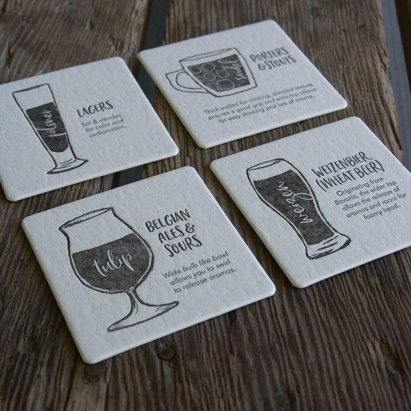 Beer Glassware Coasters,  set of 4 perfect gift for beer lover and brewer