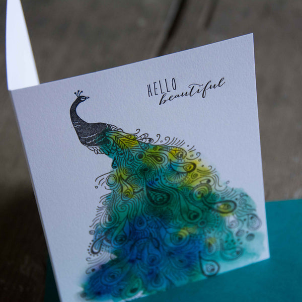 Hello beautiful, letterpress printed card. Eco friendly