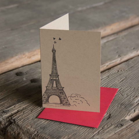 Eiffel Tower Paris, no words letterpress printed eco friendly