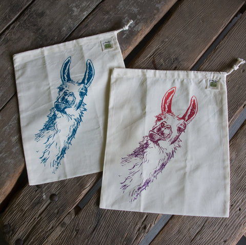 Llama Produce Bag, screen printed medium bulk and produce bag