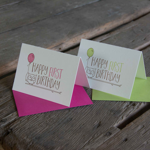Happy First Birthday card, letterpress printed animals